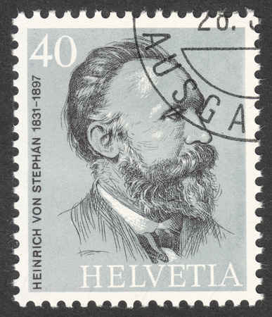 heinrich: MOSCOW, RUSSIA - CIRCA APRIL, 2016: a post stamp printed in SWITZERLAND shows a portrait of Heinrich von Stephan, the series The 100th Anniversary of the Universal Postal Union, circa 1974