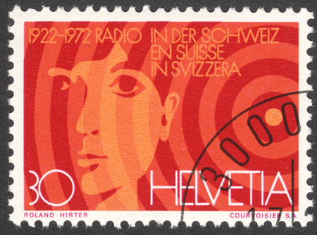 helvetia: MOSCOW, RUSSIA - CIRCA APRIL, 2016: a post stamp printed in SWITZERLAND, devoted to the 50th anniversary of Radio Switzerland, sirca 1972