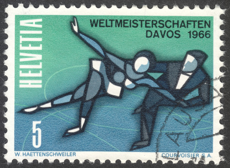 helvetia: MOSCOW, RUSSIA - CIRCA APRIL, 2016: a post stamp printed in SWITZERLAND, dedicated to the World Ice Skating Championships in Davos, 1966, circa 1965 Editorial