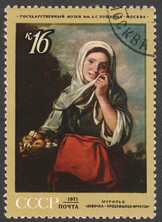 murillo: MOSCOW, RUSSIA - CIRCA APRIL, 2016: a post stamp printed in the USSR shows a painting Girl Fruit-seller by Murillo, the series Foreign Paintings in Russian Museums, circa 1971
