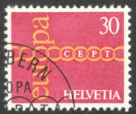 helvetia: MOSCOW, RUSSIA - CIRCA APRIL, 2016: a post stamp printed in SWITZERLAND shows chain symbolizing European Unity, the series Eurostamps, circa 1971 Editorial