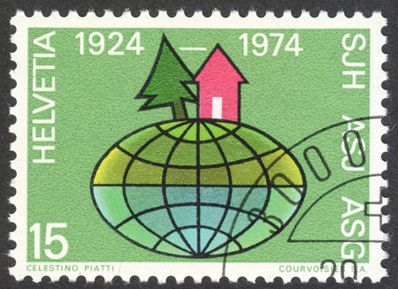 helvetia: MOSCOW, RUSSIA - CIRCA APRIL, 2016: a post stamp printed in SWITZERLAND dedicated to the 50th Anniversary of Swiss Youth Hostels, circa 1974