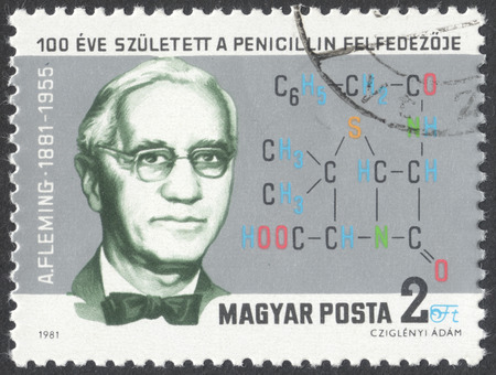pharmacologist: MOSCOW, RUSSIA - CIRCA JUNE, 2016: a post stamp printed in HUNGARY, dedicated to the 100th Anniversary of the Birth of Alexander Fleming, circa 1981