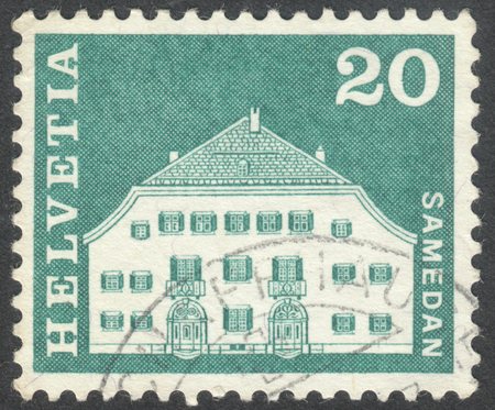 helvetia: MOSCOW, RUSSIA - CIRCA JUNE, 2016: a post stamp printed in SWITZERLAND shows Planta House, Samedan, circa 1968 Editorial
