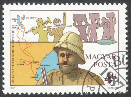 samuel: MOSCOW, RUSSIA - CIRCA JUNE, 2016: a post stamp printed in HUNGARY shows a portrait of Count Samuel Teleki, dedicated to the 100th Anniversary of the Africa Expedition, circa 1987