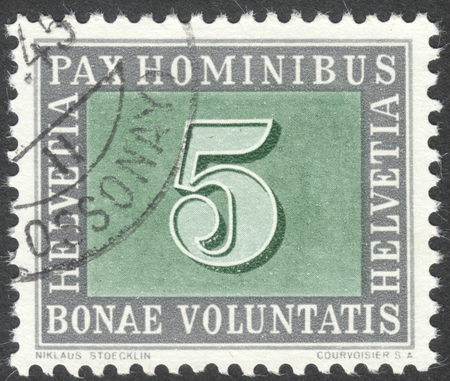 helvetia: MOSCOW, RUSSIA - CIRCA JULY, 2016: a post stamp printed in SWITZERLAND with inscription Pax hominibus, bonae voluntatis, the series Truce in Europe, circa 1945 Editorial