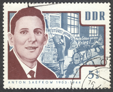 ddr: MOSCOW, RUSSIA - CIRCA JULY, 2016: a post stamp printed in DDR shows a portrait of Anton Saefkow, the series Resistance Heroes, circa 1964 Editorial