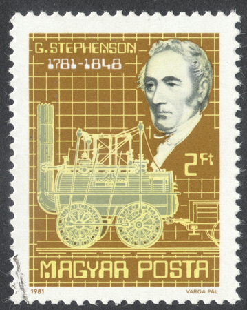 postmail: MOSCOW, RUSSIA - CIRCA JUNE, 2016: a post stamp printed in HUNGARY, dedicated to the 200th Anniversary of the Birth of George Stephenson, circa 1981