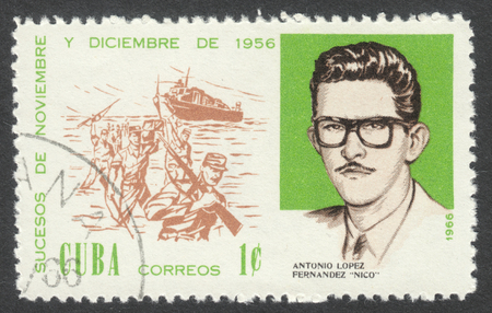 anniversary beach: MOSCOW, RUSSIA - CIRCA JULY, 2016: a post stamp printed in CUBA shows A. L. Fernandez, Nico and Beach Landing, the series The 10th Anniversary of The 1956 Revolutionary Successes, circa 1966 Editorial
