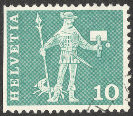 helvetia: MOSCOW, RUSSIA - CIRCA JUNE, 2016: a post stamp printed in SWITZERLAND shows a knight, circa 1960 Editorial
