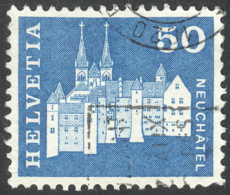 helvetia: MOSCOW, RUSSIA - CIRCA JUNE, 2016: a post stamp printed in SWITZERLAND shows Castle and Abbey Church, Neuchatel, Switzerland, circa 1968