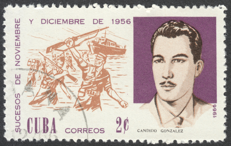 anniversary beach: MOSCOW, RUSSIA - CIRCA JULY, 2016: a post stamp printed in CUBA shows C. Gonzalez and Beach Landing, the series The 10th Anniversary of The 1956 Revolutionary Successes, circa 1966 Editorial