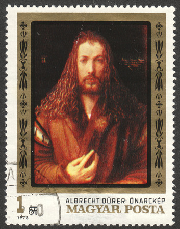 albrecht: MOSCOW, RUSSIA - CIRCA JUNE, 2016: a post stamp printed in HUNGARY shows the painting Albrecht Durer, the series The 450th Death Anniversary of Durer, circa 1979 Editorial