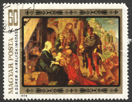 adoration: MOSCOW, RUSSIA - CIRCA JUNE, 2016: a post stamp printed in HUNGARY shows the painting Adoration of the Magi, the series The 450th Death Anniversary of Durer, circa 1979