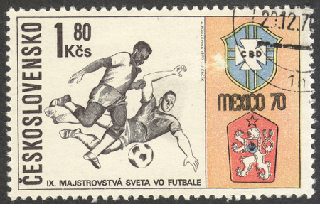 football world cup: MOSCOW, RUSSIA - CIRCA JUNE, 2016: a post stamp printed in CZECHOSLOVAKIA shows Two Players and Badges of Brazil and Czechoslovakia, the series Football World Cup - Mexico, circa 1970