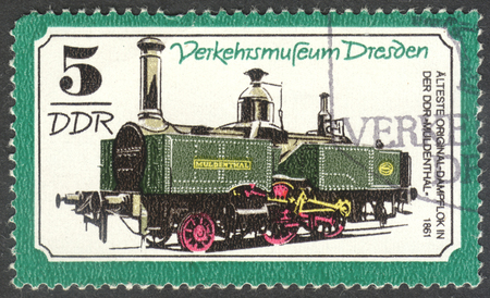 ddr: MOSCOW, RUSSIA - CIRCA JUNE, 2016: a post stamp printed in DDR shows a Steam locomotive Muldenthal, the series Transportation - Dresden Traffic Museum, circa 1977