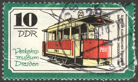 ddr: MOSCOW, RUSSIA - CIRCA JUNE, 2016: a post stamp printed in DDR shows a Electric streetcar motor coach, the series Transportation - Dresden Traffic Museum, circa 1977 Editorial