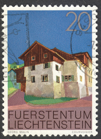 MOSCOW, RUSSIA - CIRCA JULY, 2016: a stamp printed in LIECHTENSTEIN shows a traditional local house, the series Buildings, circa 1978