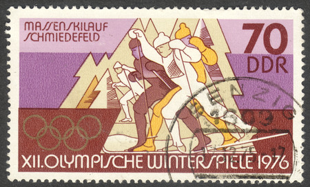 MOSCOW, RUSSIA - CIRCA JUNE, 2016: a post stamp printed in DDR, the series Winter Olympic Games - Innsbruck, Austria, circa 1975