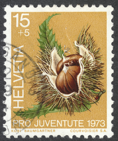 castanea sativa: MOSCOW, RUSSIA - CIRCA JULY, 2016: a post stamp printed in SWITZERLAND shows chestnuts (Castanea Sativa), the series Pro Juventute - Fruit of the Forest, circa 1973