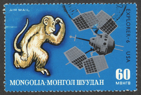 chinese postage stamp: MOSCOW, RUSSIA - CIRCA JUNE, 2016: a post stamp printed in MONGOLIA shows Monkey and Explorer - 6, the series Zodiac Pictures Of The Lunisolar Calendar And Space, circa 1972