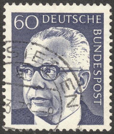 MOSCOW, RUSSIA - CIRCA JANUARY, 2016: a stamp printed in GERMANY shows a portrait of Gustav Heinemann, the series Gustav Heinemann, circa 1970