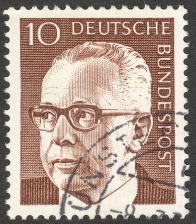 bundespost: MOSCOW, RUSSIA - CIRCA JANUARY, 2016: a stamp printed in GERMANY shows a portrait of Gustav Heinemann, the series Gustav Heinemann, circa 1970