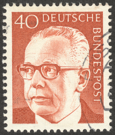 bundes: MOSCOW, RUSSIA - CIRCA JANUARY, 2016: a stamp printed in GERMANY shows a portrait of Gustav Heinemann, the series Gustav Heinemann, circa 1970