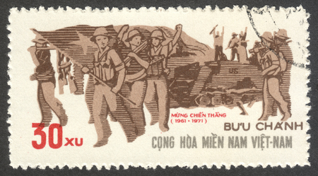 guerilla: MOSCOW, RUSSIA - CIRCA JULY, 2016: a stamp printed in VIETCONG shows Guerilla Force, the series The 10th Anniversary of the PLAF, circa 1971