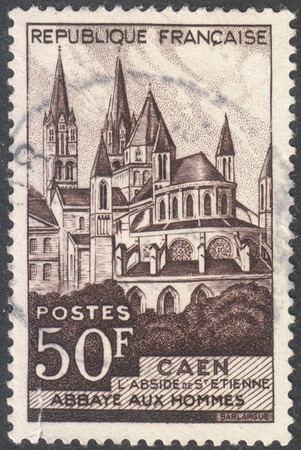 MOSCOW, RUSSIA - CIRCA AUGUST, 2016: a stamp printed in FRANCE shows Caen - The Abbey men. The church of Saint Etienne, the series Tourism, circa 1951