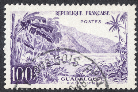 sens: MOSCOW, RUSSIA - CIRCA AUGUST, 2016: a stamp printed in FRANCE shows view of Sens River, Guadeloupe, the series Landscapes, circa 1957