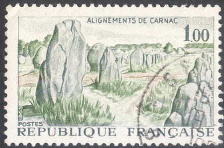 alignments: MOSCOW, RUSSIA - CIRCA AUGUST, 2016: a stamp printed in FRANCE shows Alignments Kermario, Carnac, the series Tourism, circa 1965 Editorial