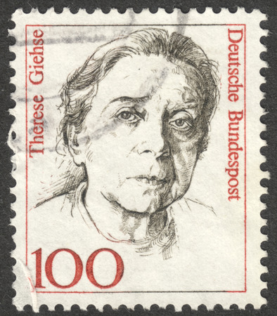 famous women: MOSCOW, RUSSIA - CIRCA AUGUST, 2016: a stamp printed in GERMANY shows a portrait of Therese Giehse, the series Famous Women, circa 1988 Editorial