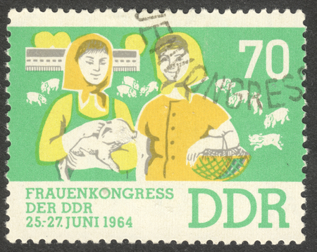 ddr: MOSCOW, RUSSIA - CIRCA AUGUST, 2016: a stamp printed in DDR dedicated to  Womens Congress, circa 1964 Editorial