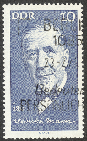 mann: MOSCOW, RUSSIA - CIRCA AUGUST, 2016: a stamp printed in DDR shows a portrait of  Heinrich Mann, the series Famous Persons, circa 1971