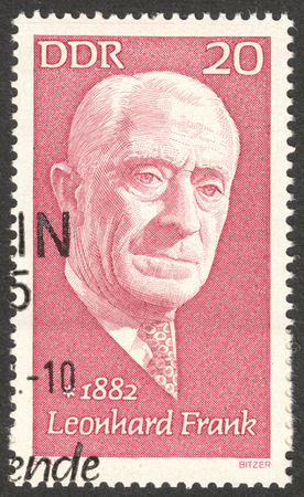 frank: MOSCOW, RUSSIA - CIRCA AUGUST, 2016: a stamp printed in DDR shows a portrait of  Leonhard Frank, the series Famous Persons, circa 1972