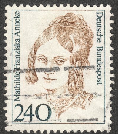 famous women: MOSCOW, RUSSIA - CIRCA AUGUST, 2016: a stamp printed in GERMANY shows a portrait of Mathilde Franziska Anneke, the series Famous Women, circa 1988 Editorial
