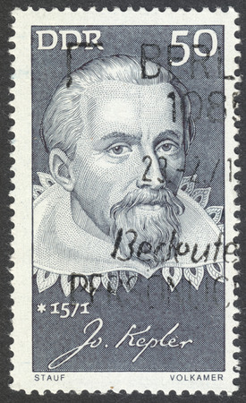 kepler: MOSCOW, RUSSIA - CIRCA AUGUST, 2016: a stamp printed in DDR shows a portrait of  Johannes Kepler, the series Famous Persons, circa 1971