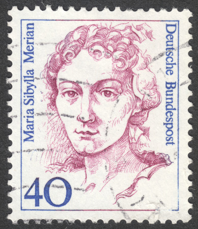 famous women: MOSCOW, RUSSIA - CIRCA AUGUST, 2016: a stamp printed in GERMANY shows a portrait of Maria Sibylla Merian, the series Famous Women, circa 1988