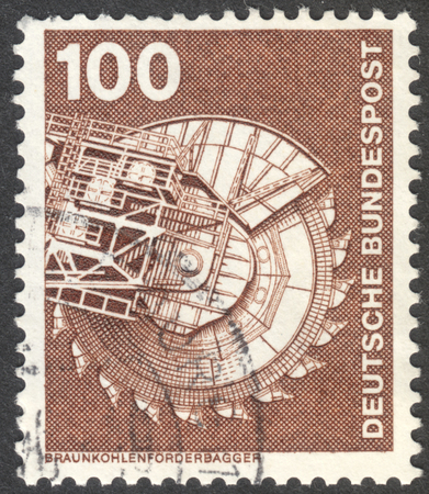 bundespost: MOSCOW, RUSSIA - CIRCA AUGUST, 2016: a stamp printed in GERMANY shows brown coal conveyor excavator, the series Industry and Technology, circa 1975