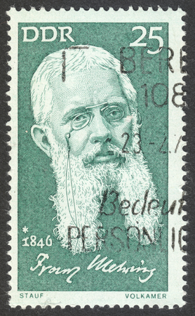 postmarked: MOSCOW, RUSSIA - CIRCA AUGUST, 2016: a stamp printed in DDR shows a portrait of  Franz Mehring, the series Famous Persons, circa 1971 Editorial