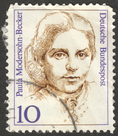 famous women: MOSCOW, RUSSIA - CIRCA AUGUST, 2016: a stamp printed in GERMANY shows a portrait of Paula Modersohn-Becker, the series Famous Women, circa 1988 Editorial