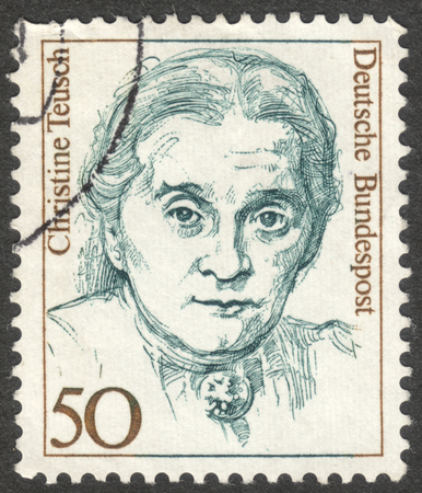 christine: MOSCOW, RUSSIA - CIRCA AUGUST, 2016: a stamp printed in GERMANY shows a portrait of Christine Teusch, the series Famous Women, circa 1988