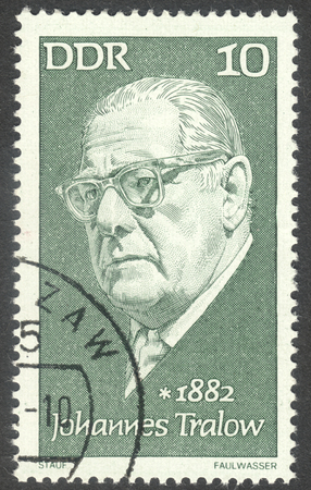postmarked: MOSCOW, RUSSIA - CIRCA AUGUST, 2016: a stamp printed in DDR shows a portrait of  Johannes Tralow, the series Famous Persons, circa 1972