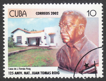 botanist: MOSCOW, RUSSIA - CIRCA SEPTEMBER, 2016: a stamp printed in CUBA, the series The 125th Anniversary of the Birth of Juan Thomas Roig, Botanist, circa 2002