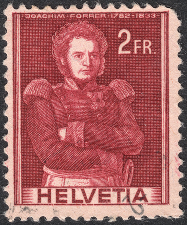 representations: MOSCOW, RUSSIA - CIRCA SEPTEMBER, 2016: a stamp printed in SWITZERLAND  shows a portrait of Colonel Joachim Forrer, the series Historical representations, circa 1941 Editorial