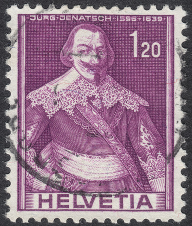 representations: MOSCOW, RUSSIA - CIRCA SEPTEMBER, 2016: a stamp printed in SWITZERLAND  shows a portrait of Jurg Jenatsch, the series Historical representations, circa 1941