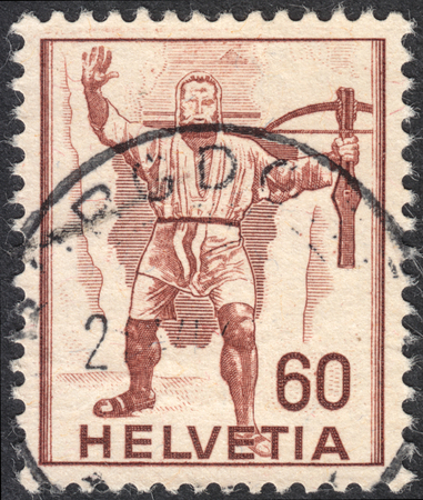 representations: MOSCOW, RUSSIA - CIRCA SEPTEMBER, 2016: a stamp printed in SWITZERLAND  shows a portrait of William Tell, the series Historical representations, circa 1941 Editorial