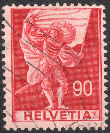 representations: MOSCOW, RUSSIA - CIRCA SEPTEMBER, 2016: a stamp printed in SWITZERLAND  shows Standard bearer, the series Historical representations, circa 1941 Editorial