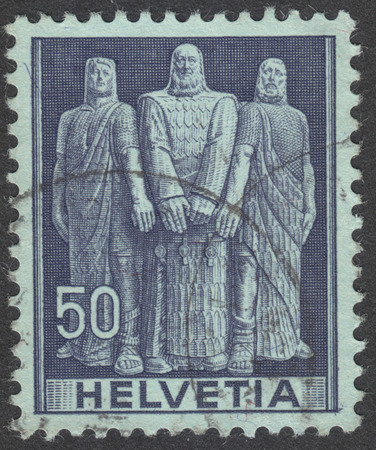 representations: MOSCOW, RUSSIA - CIRCA SEPTEMBER, 2016: a stamp printed in SWITZERLAND  shows Oath of the three original cantons, the series Historical representations, circa 1941